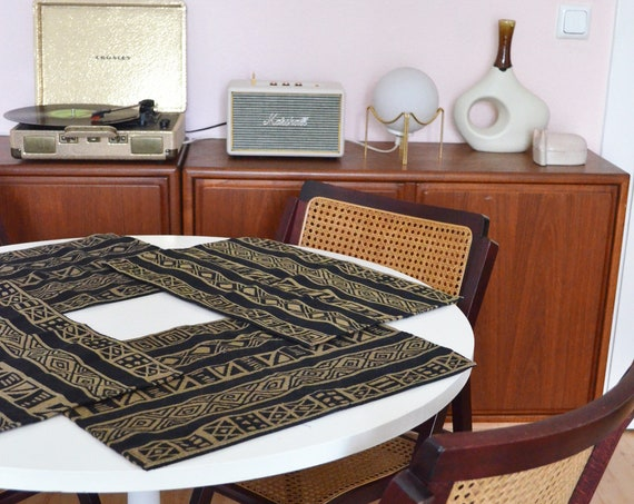 Vintage boho place mats Set of 4 ethno black mustard tablecloth place set