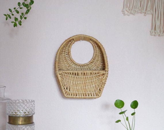 Vintage Rattan wall basket KLEIN wicker wall basket plants planting basket wall planter boho