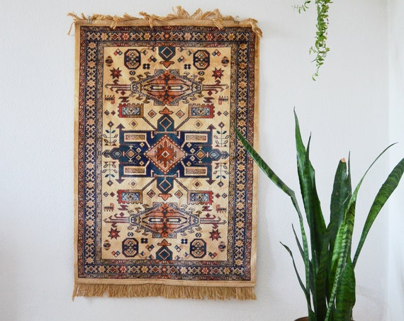 Bohemian Vintage Perser Carpet Oushak Runner Burned Orange navy Cream 105 x 70 cm