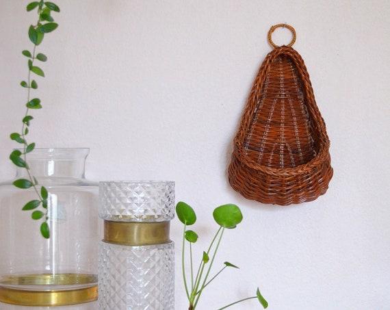 Vintage rattan Wandkorb Wicker wall Basket plants planting basket wall planter Boho