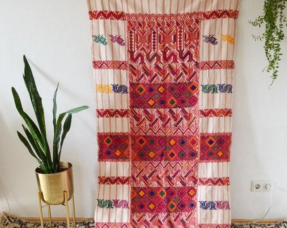 Vintage curtain Indian colorful embroidered handmade Kutchi Banjara wall hanging cotton