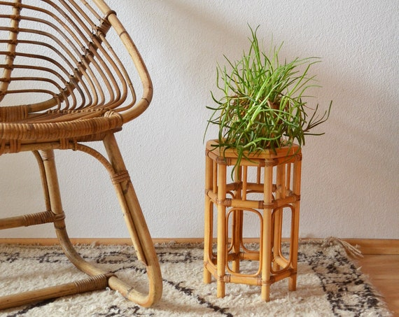 Vintage rattan table side table hexagon Rectangular bamboo boho plant stand stool boho