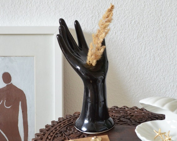 Vintage Ceramic Hand Vase jewelry Stand black
