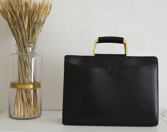 Vintage 1950s briefcase leather black with brass handles