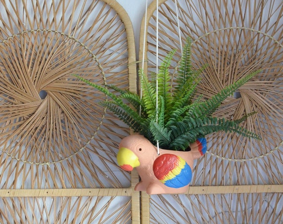 Flower pot terracotta clay colorful parrot vintage Hanging Planter bird boho kids plant pot bohemian vase white
