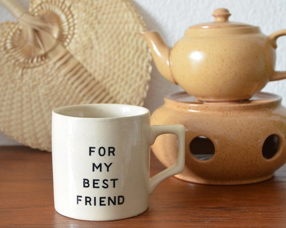 Vintage Ceramic Cup Best Friend Joke Hand beige boho Studio Ceramics