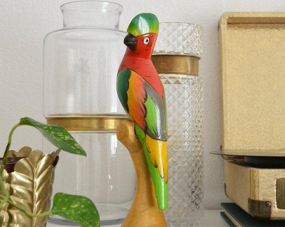 Vintage balsa wood bird green boho parrot hand-painted