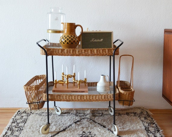 Vintage Rattan trolley mid century bar cart black tea trolley trolley side Table 1950 's