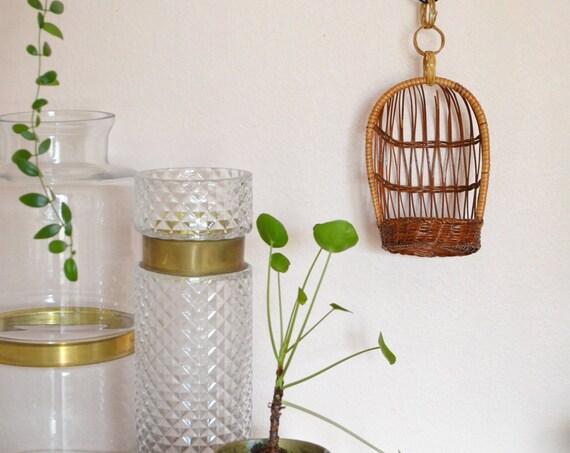 Vintage Bohemian Wicker Hanging basket planter Rattan Boho 1970 's 70s