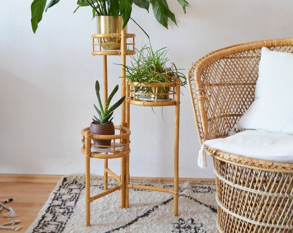 Vintage Bamboo Flower Stand plant stand bamboo boho plants rattan foldable