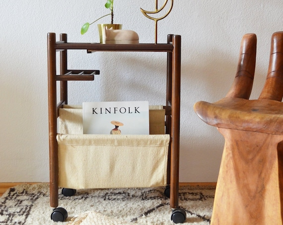 Mid century serving trolley, bar cart, newspaper stand, table, record stand, side table teak wood linen
