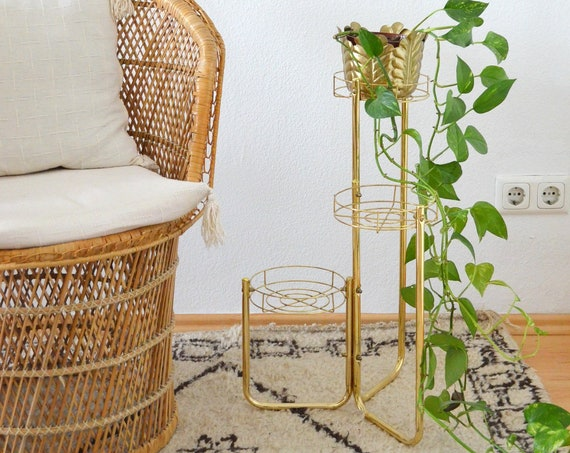 Vintage Plant stand Gold, Flower Stand, plant stand, Brass, brass, boho