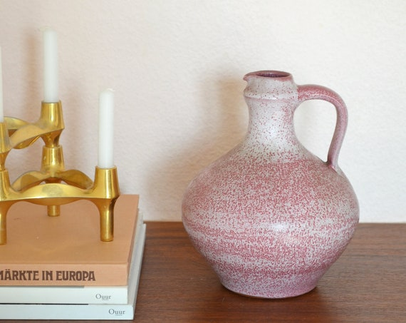 Vintage West Germany clay jug vase with Henkel pink pink white boho
