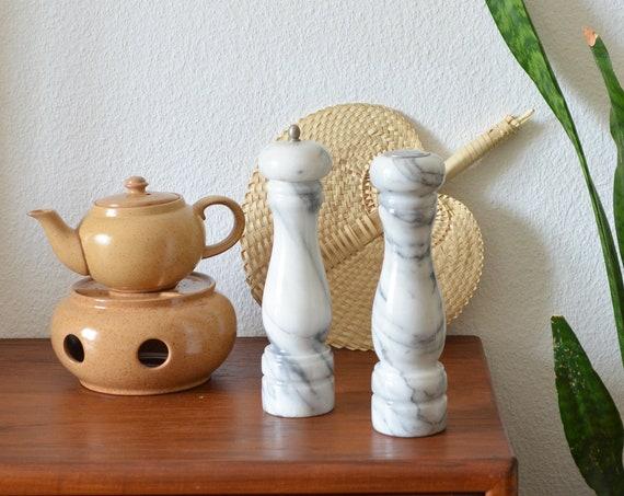 Vintage marble salt shaker pepper shaker set pepper mill spice mill marble
