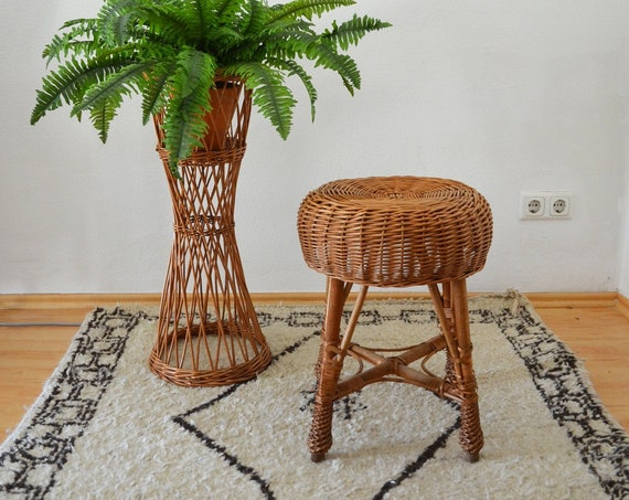 Vintage Rattan Stool boho around 1960 wrap stool chair