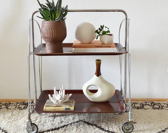 Vintage bar trolley tea cart serving trolley Dinet brass bar cart wood mid century side table