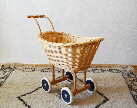 Vintage stroller doll's truck rattan toy