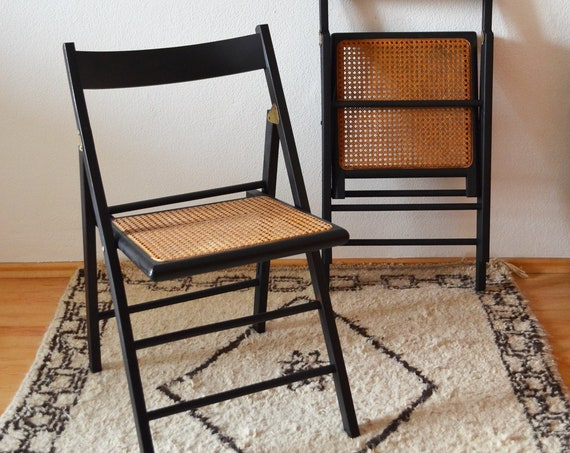 Vintage Mid century rattan chair folding chair black with Viennese braid pipe mesh