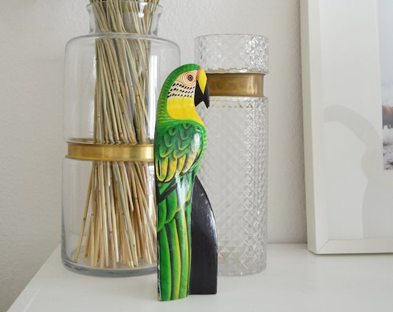 Vintage balsa wood bird green boho parrot hand-painted