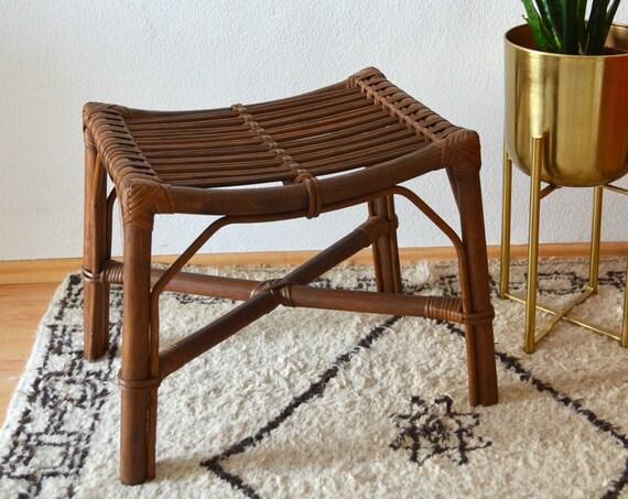 Vintage Bamboo rattan Boho stool bamboo wicker mid century
