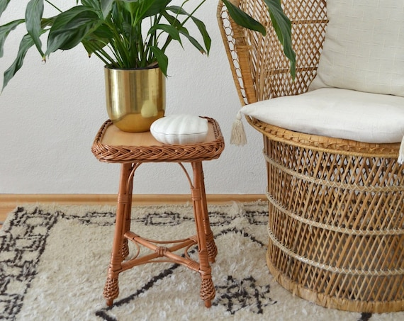 Vintage rattan boho flower bench stool side Table plant stand plants bohemian wicker Stool Bohemian