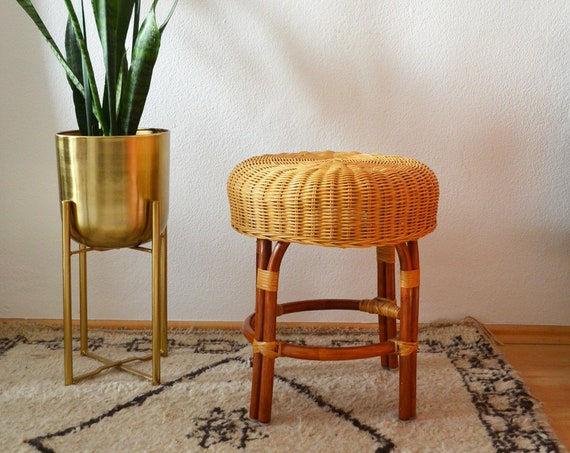 Vintage rattan stool plant stand wicker stool Boho round side table 1970 's chair