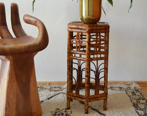 Vintage rattan table side table hexagon Rectangular bamboo boho plant stand stool boho