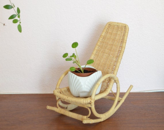 Miniature Rattan rocking chair wicker doll mini chair wicker plants planter