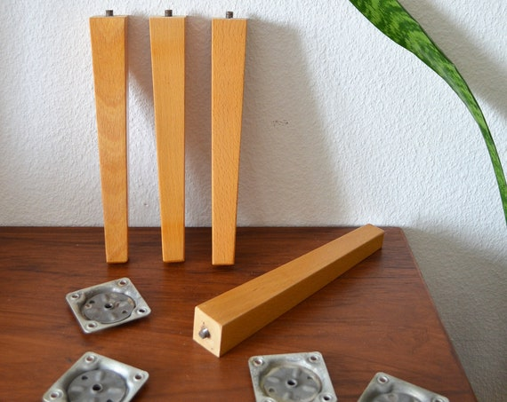 Set of 4 vintage furniture legs wood Furniture Pegs Wood 24 cm