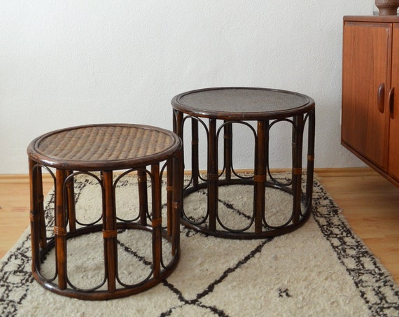 Set of two bamboo tables around coffee table boho vintage rattanwicker table set