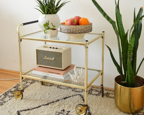 Mid Century bar car brass & glass gold, serving trolley