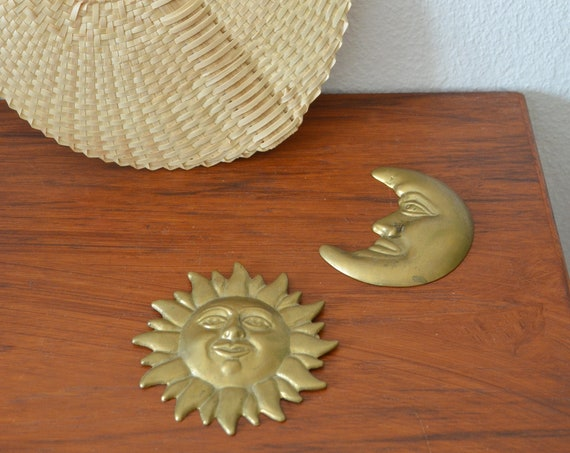 Vintage wall decoration sun & moon face from brass boho
