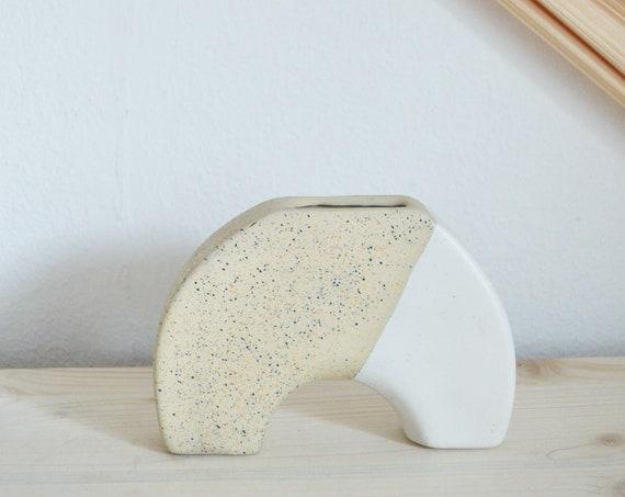 Rainbow vase & candlestick beige handmade round