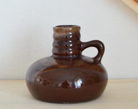 Mid century vase jug brown beige handmade