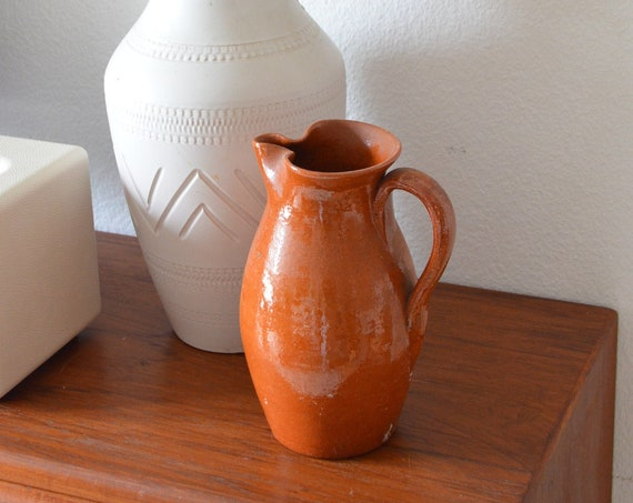 Vintage pitcher ceramic vase jug 1960s rust brown brown terracotta home decor mid century danish design studio ceramic