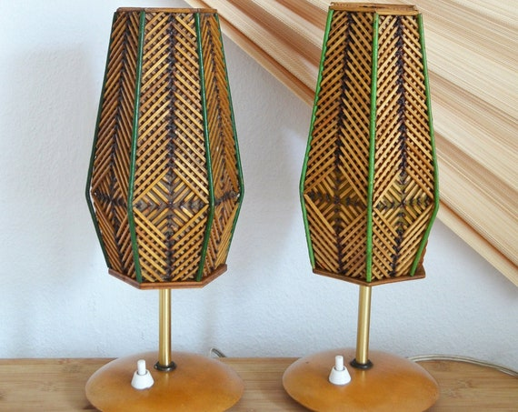 Vintage table lamp set of bamboo & teak mid century gold, brass vintage desk lamp, table lamp 1950
