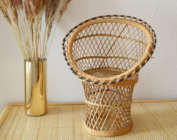 Vintage Mini Peacock Chair Peacock Chair Plant Stand Rattan boho Flower Stand