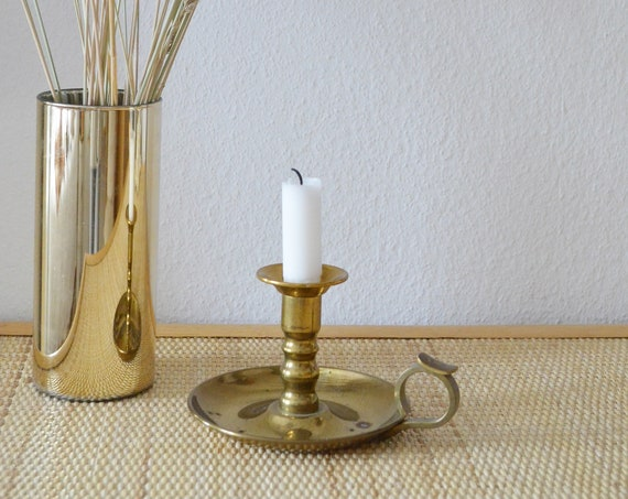 Vintage candlestick candle holder brass gold Art Nouveau