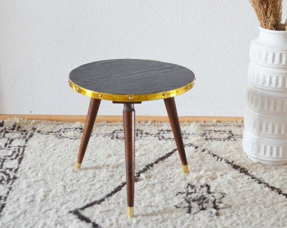Mid century kidney table side table black gold brass brass vintage side table teak wood plant stand