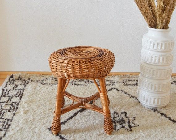 Vintage rattan boho flower stool side table plant stand plants bohemian wicker stool bohemian