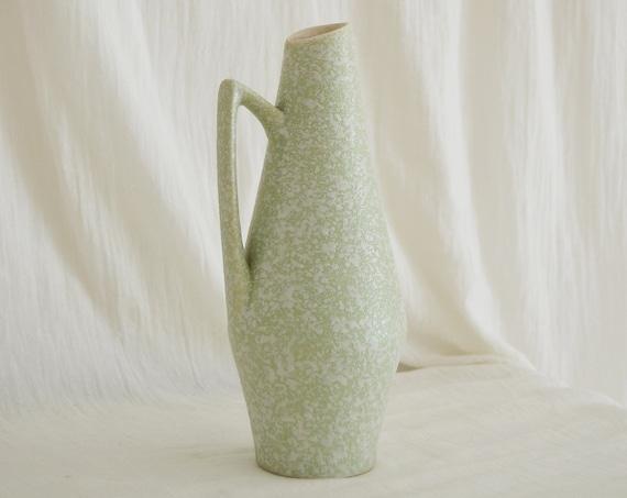 Mid Century Vase Jug mint green white handmade ceramic