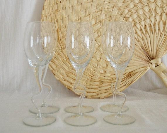 Set of 6 glasses wine glass Champagne glasses Drinking glass Stem glass zigzagged wavy