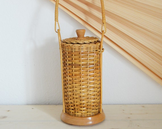 Vintage ice bucket wine cooler from rattan basket with handle