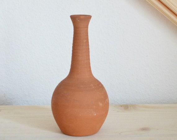 Vintage clay ceramic vase 1960s rust brown rust brown terracotta home décor mid century danish design studio pottery