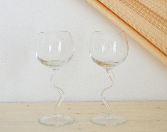Set of 2 glasses wine glass drinking glass stem glass zig-zag wavy
