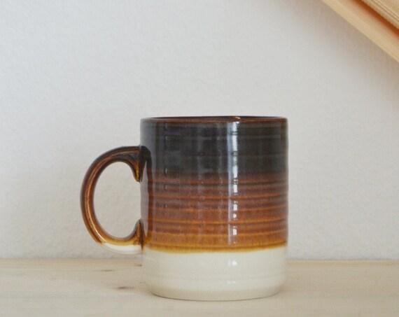 Handmade vintage ceramic cup brown boho studio pottery