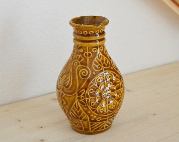 Vintage Scheurich vase mustard mustard yellow yellow 14 cm boho mid century