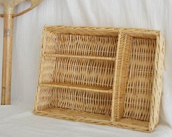 Vintage Rattan Cutlery Box Basket Bowl Vintage wicker cutlery tray boho basket round