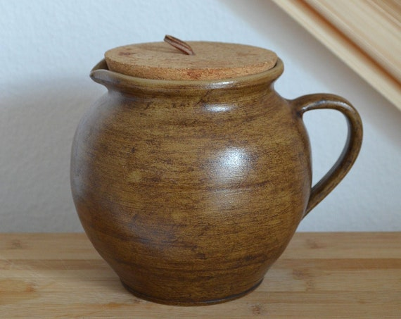 Vintage jug ceramic vase pot with cork 1960s brown home décor mid century danish design studio pottery