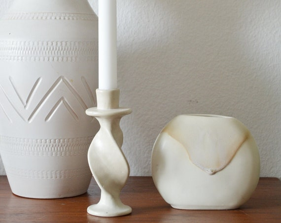 Candlesticks - beige earthenware handmade studio ceramics